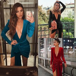 lace mini sexy red dresses Australia - Prom Dresses Party Dress Halter Deep V-Neck Women Lace Velvet Dress Long Sleeve Sexy Casual Mini Velour cny1546