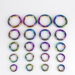 spring snaps metal NZ - Meetee 12 17 19 25 32mm Rainbow Round Spring Metal O Ring Buckle Carabiner Snap Clip Keychain Clasp DIY Bags Accessories