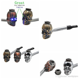 $enCountryForm.capitalKeyWord Australia - Newest Mini Herb Skull Head Shape Filter Smoking Pipe Bent Lip Induction Electronic lighting Great High Quality Innovative Design Hot Cake