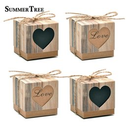$enCountryForm.capitalKeyWord Australia - 50pcs Romantic Lover Black Heart Window Candy Box Wedding Decoration Vintage Kraft Favors Gift Boxes with Burlap Twine Chic