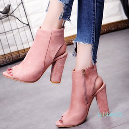 thick heel pumps ankle boots NZ - 2019 Fashion Women\'s Peep Toe Summer Open Toe Pumps Casual Faux Suede Ankle Boots Thick High Heels Peep Toe Women Pumps sandals l22