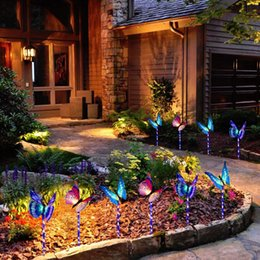 changing fiber optic Australia - Garden Solar Lights Outdoor, Solar Stake Lights Multi-Color Changing LED Butterfly, Fiber Optic Butterfly Decorative Lights with a Pu