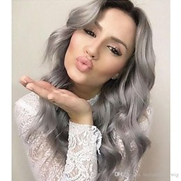 $enCountryForm.capitalKeyWord Australia - Fashion Two Tones Heat Resistant Natural Soft Black Gray Long Body Wave Ombre Synthetic Wigs Glueless Lace Front Wigs for Black Women