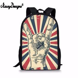 $enCountryForm.capitalKeyWord UK - NOISYDESIGNS Rock and Roll hand sign Design Printing Backpack For Boys Girls 3D School Supplies Women Bags Men Laptop Rucksack