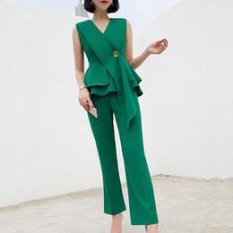 Korean green pants online shopping - Korean version of the two piece V neck waist ruffled shirt fashion professional pants suit dress summer net red