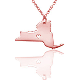 $enCountryForm.capitalKeyWord Australia - New York State Pendant Necklace Women Men Stainless Steel USA Map charm Necklaces Wholesale free shipping