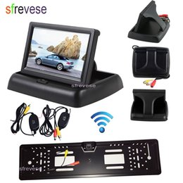 "wireless rear view camera monitor Australia - 4.3"" Car LCD Foldable Monitor Rear View Kit + Wireless EU Car License Plate Frame Reversing Backup Parking 4 LED Camera"