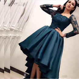 Long white summer shirt dresses online shopping - Dark Blue Arabic High Low Prom Dresses Long Sleeves Formal Party Evening Dress Saudi Arabia Pageant Gowns