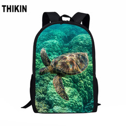 $enCountryForm.capitalKeyWord Australia - ThiKin Cool Sea Turtle Pattern 3D Print School Bags for Teenage Boys Cool Children Daily Kids Book Bag Students Mochilas Custom