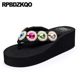 Chinese red slippers online shopping - platform diamond wedge crystal shoes flip flop slides black chinese flatforms rhinestone sandals wide fit ladies slippers beach
