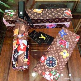 Ingrosso Lussuosi Designer Lettera di marca Poco Api Ombrello Donna lusso Classico Stile Camelia Ombrello 3 Pieghe Vendita calda LOGO Ombrello Antivento