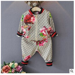 Wholesale floral trench coats for sale - Group buy New Boys Sets Girls Letter Football Baseball Tracksuit Sport Suits Set jacket Pant kids Outfits Baby Tracksuits Childrens Clothes