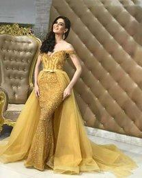 $enCountryForm.capitalKeyWord Australia - Luxury Arabic Dubai Detachable Skirt Mermaid Evening Dresses 2018 Elegant Off Shoulders Sequins Beaded Fitted Long Women Formal Pageant Gown