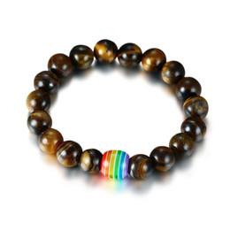 Vente en gros LGBT Relation Bracelet Blanc Howlite Noir Lava Rock Arc-En-Résine Huile Diffuseur Perles Gay Couples Fort Cordon À La Main