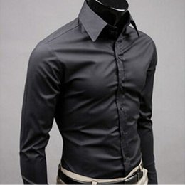 $enCountryForm.capitalKeyWord Australia - 2019 New Men's Fashion Casual Solid Candy Color Long Sleeve Slim Fit Dress Shirt Top Business casual goes with wedding shirts