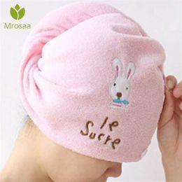 Pink Ladies Hair Australia - Cute Soft Hair Towel Microfiber Solid Quickly Dry Hair Hat Women Girls Ladies Cap Bath Accessories Drying Towel Head Wrap Hat D19011201