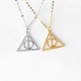 $enCountryForm.capitalKeyWord Australia - 100PCS LOT Movie Harry Deathly Hallows Necklace Fashion Rotated Triangle Pendant Chain Necklace Choker For Women&Men Jewelry
