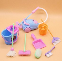 plastic furniture toy set NZ - Furniture Toys Miniature House Cleaning Tool doll house accessories For Doll House Pretend Play Toy things for dolls