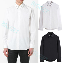 twill patches UK - Chemise Homme Hot Sale Design Shirt Mens Metal Stars Patch Long Sleeve Pocket Cotton Casual Wear Shirt