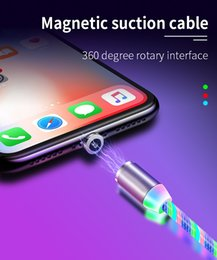 flowing light charging cable UK - LED Flowing Magnetic Charger Cable Light Up Candy Moving Shining Charger Phone Charging Cable Magnetic Streamer Absorption USB