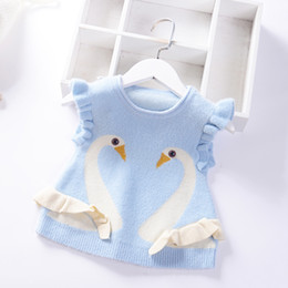 $enCountryForm.capitalKeyWord Australia - 2019 Autumn Girls Sweater Vest Baby Princess Pullover mink velvet Vest Spring Kids Knitted Clothes Cartoon swan Children Coat