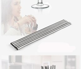 length drinking straw UK - 215MM length Durable Stainless Steel Straight Drinking Straw Straws Metal Bar Family kitchen 100pcs free shipping