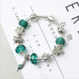 Turtle Charm Green Australia - 2019 Newest Charm Bracelets Parrot turtle Green CZ Crystal Charms For Women Original DIY Jewelry Peach Style Fit Pandora European Women Gift