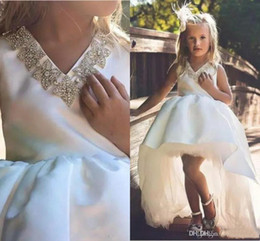 $enCountryForm.capitalKeyWord Australia - simple White Flower girls Dresses For Wedding V Neck Beaded Crystal Hi Lo Satin Girls Pageant Dresses