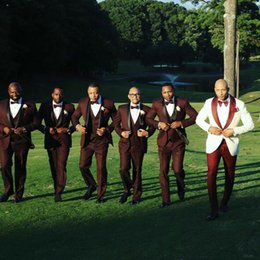 $enCountryForm.capitalKeyWord Australia - White Mens Wedding Suits Groom Tuxedos Burgundy Groomsmen Suits Man Blazers Red Shawl Lapel Costume Homme 2Piece Slim Fit Terno Masculino