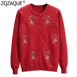Pattern Decor Australia - New Fashion Preppy Style Girls Spring Cardigans Cute Pig Pattern Sequins Decor Red Black Knitwear Women's Casual Knit Top SY1961