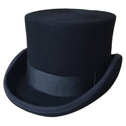 91b33e41d60 Halloween Cosplay Magician Magic Caps Steampunk Wool Top Hats For Women Men  British Fedora Masquerade Party Packaging With Box