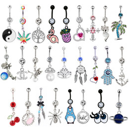 Belly Piercing Pendant Australia - 1PC 14G Pendant Rings Body Piercing Jewelry Silver Navel Piercing Pineapple Dream Cacther Dangle Belly Button Ring for Women