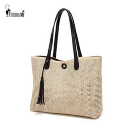 $enCountryForm.capitalKeyWord Australia - FUNMARDI New Woven Women's Handbag Fashion Beach Straw Bag For Women Shoulder Bag Summer Tassel Large Capatity Bag Tote