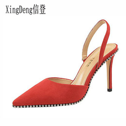 $enCountryForm.capitalKeyWord NZ - XingDeng Women Rivets Pointed Toe High Heels Sandals Shoes Lady Flock Summer Design Party Dress Sandals Shoes Thin Heels