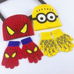 $enCountryForm.capitalKeyWord Australia - Spiderman Little Yellow Men Hats Baby Cute Cartoon Wool Knitted Keep Warm Jacket Head Cap Finger Separation Glove Two Piece Set