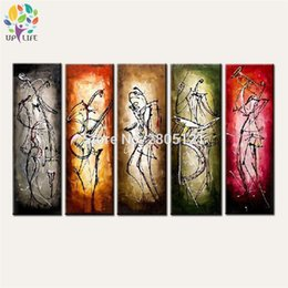Oil Color Abstract Canvas Australia - 5 color group canvas wall painting large hand painted abstract lines figure art muisician canvas oil picture for home decoration
