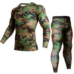 Army Thermal Shirt Australia - Winter Suit For Men 2 Piece Men Thermal Underwear Camouflage Tracksuit Mma Clothing Rashgard Kit Bodybuilding T-shirt