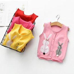 red baby vest NZ - 2019 Autumn Girls Knitting Vest cardigan Baby coat Knitted Sweater Vest Spring Kids Outerwear Cartoon bunny Children Jackets