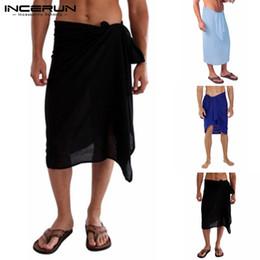 $enCountryForm.capitalKeyWord Australia - INCERUN 2019 Men Bath Towel Skirt Bathrobes Solid Color Leisure Homewear Soft Stylish Blanket Beach Men Towel Skirts Pajamas 5XL