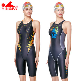 $enCountryForm.capitalKeyWord Australia - Yingfa Professional Competition Swimsuit Women Girls One Piece Swimwear Kids Training Swimwear Racing Knee Swimsuit Y19072601