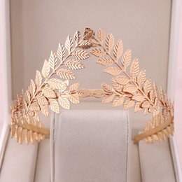 $enCountryForm.capitalKeyWord Australia - Golden Leaf Hair Crown Tiara Head Band Fashion Women Hair Accessories Bride Hair Jewelry Tiaras and Headpieces