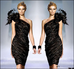 Zuhair murad cocktail online shopping - Zuhair Murad Little Black Formal Cocktail Dresses One Shoulder Flower Feathers Prom Party Gown Beaded Ruffle Dress Sexy Club Cheap