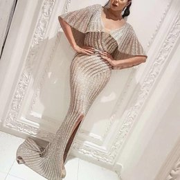 robe fashion longue NZ - 2019 Yousef Aljasmi Front Slit silver Evening Dresses Robe Longue Luxury Crystal Sexy Mermaid Prom Dresses V Neck Vestidos De Gala