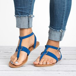 Toe ring sandals online shopping - Leisure Peep Toe Flat Sandals Buckle Strap Summer Shoes Woman Metal Ring Decoration Leather Flat Heel Sandals