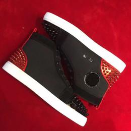 Dance shoes men online shopping - Elegant Brands Red Spikes Red Bottom Sneaker Shoes High Top Rivets Women Men Casual Paris Dancing Skateboard Shoes With Box eu35