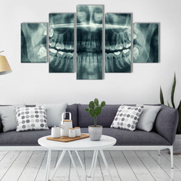 popular art oil painting UK - Picture Wall Popular Art Home Decoration 5 Panel Dental Canvas Oil Painting Modular For Living Room Modern Printing Type
