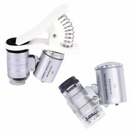 Camera For Telescopes NZ - Universal 60X Optical Zoom Microscope with LED light Clip 60X Telescope Camera Microscope magnifying glass Lens for Mobile Phone Lens