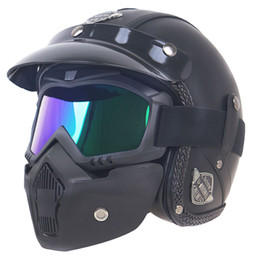 open face jet motorcycle helmet Australia - Cafer Racer design motorcycle helmet 3 4 jet helmet with mask open face motorbike for adults M,L,XL available