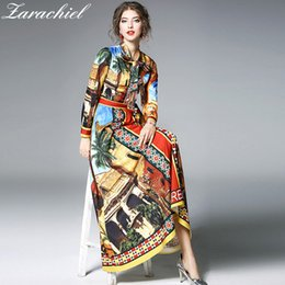 $enCountryForm.capitalKeyWord Australia - New Fashion 2018 Spring Brand Design Maxi Dress Women Vintage Gorgeous Print Bow Tie Neck Big Swing Robe Femme Party Long Dress Y19073001