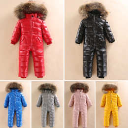 Wholesale half jumpsuit resale online – Russian Winter Snowsuit Boy Baby Jacket Duck Down Outdoor Infant Clothes Girls Climbing For Boys Kids Jumpsuit y T190919